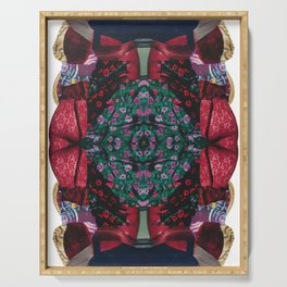 red lace - a modern, colorful collage Serving Tray