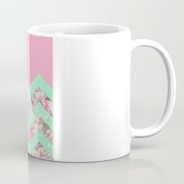 Girly Mint Green Pink Floral Block Chevron Pattern Coffee Mug