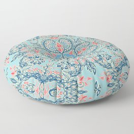 Gypsy Floral in Red & Blue Floor Pillow
