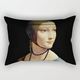 """Leonardo Da Vinci """"Portrait of Cecilia Gallerani (Lady with the Ermine)"""" Rectangular Pillow"""
