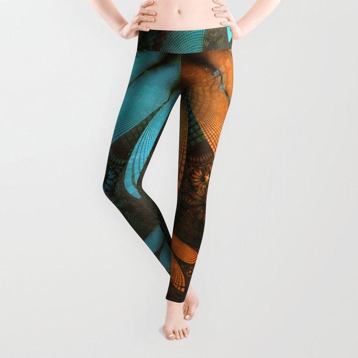 Shikoba Fractal -- Beautiful Leather, Feathers, and Turquoise Leggings