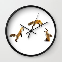 Fox Snow Jump Wall Clock