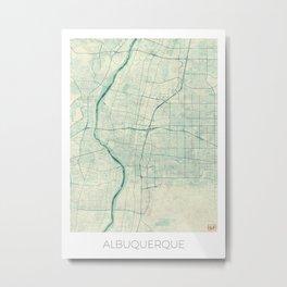 Albuquerque Map Blue Vintage Metal Print
