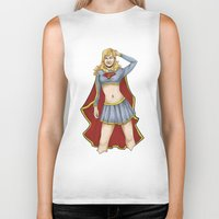 supergirl Biker Tanks featuring Supergirl by kittencasanova