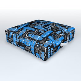 Gamer Lingo-Black and Blue Outdoor Floor Cushion