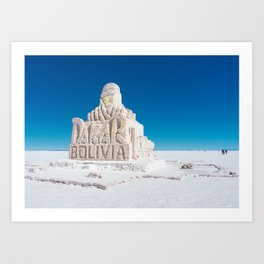 Dakar, Bolivia Monument in Salar de Uyuni, Salt Flats Art Print