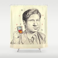 mulder Shower Curtains featuring Mulder by withapencilinhand