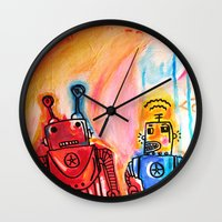 get shit done Wall Clocks featuring Robots Get Shit Done by The Fem Fox