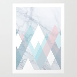 Snowy Peak on Marble Art Print