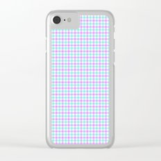 Gingham purple and teal Clear iPhone Case
