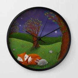Fox And Bunny Dreaming The Night Away Wall Clock