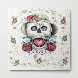 Spring Fling Sugar Skull Metal Print