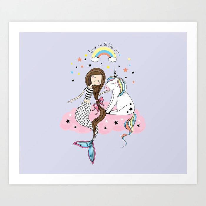Mermaid & Unicorn Kunstdrucke