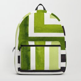 Sap Green Minimalist Inca Geometric Mid Century Modern Watercolor Pattern Maze Backpack