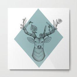Geometric Stag - Eggshell Blue Metal Print