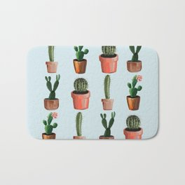 Various Cacti Light Blue Bath Mat
