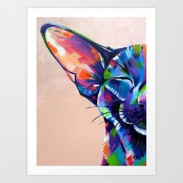 Sunbathing - Oriental Cat Painting Art Print