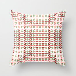 Red And Green Snowflake Christmas Pattern Throw Pillow
