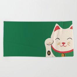 Green Lucky Cat Maneki Neko Beach Towel
