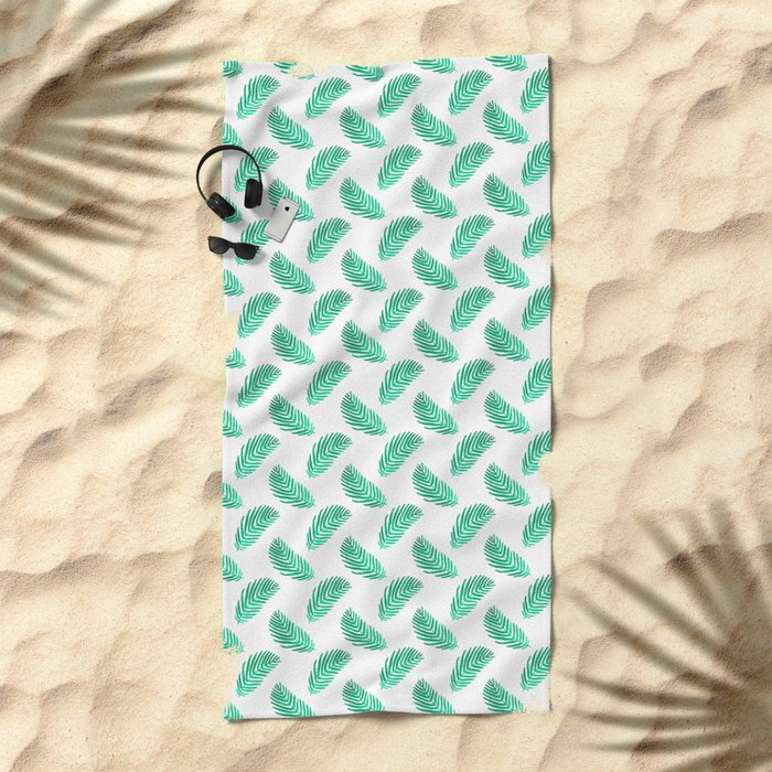 Palm frond tropical vacation green white house plant gender neutral natural organic garden island Beach Towel