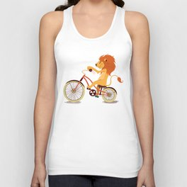 Lion on the bike Unisex Tank Top