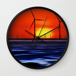 Wind Farms in the Sunset (Digital Art) Wall Clock