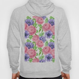 Watercolor pattern with peony and anemone flowers Hoody
