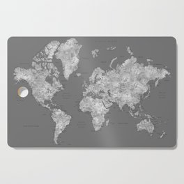 Dark gray watercolor world map with cities Cutting Board