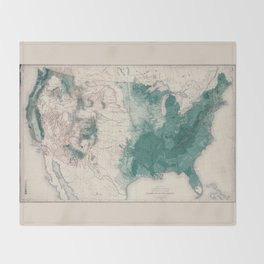 1883 USA Map of Density of Forests Throw Blanket