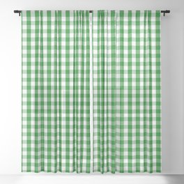 Christmas Green Gingham Check Sheer Curtain