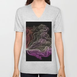 Pink-Coral Ombré Butterfly Wings -String Theory 7 Unisex V-Neck