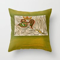 om Throw Pillows featuring om by Loosso