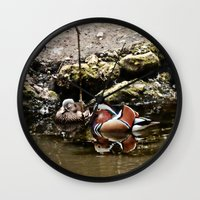 duck Wall Clocks featuring Duck by Anand Brai