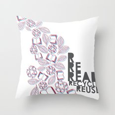 read, recycle, reuse Throw Pillow