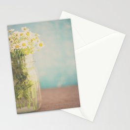 A mason jar full of pretty flowers. Stationery Cards