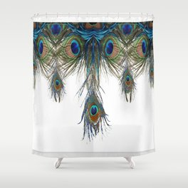 BLUE-GREEN PEACOCK FEATHERS WHITE ART #2 Shower Curtain