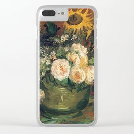 Vincent Van Gogh - Still Life with Roses and Sunflowers, 1886 Clear iPhone Case