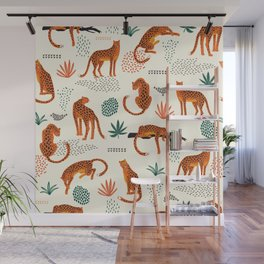 Seamless pattern with leopards Wall Mural