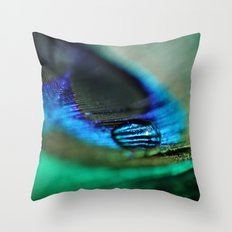 Water Drop on a Feather Throw Pillow