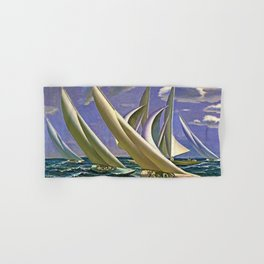 American Masterpiece 'Racing in Newport - America's Cup' by G. Foster Hand & Bath Towel
