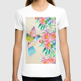 Whimsical watercolor hummingbird and  floral hand paint T-shirt