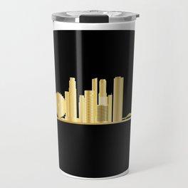 Singapore city skyine gold Travel Mug