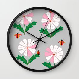 White and Pink Daisies and Lady Bugs Wall Clock