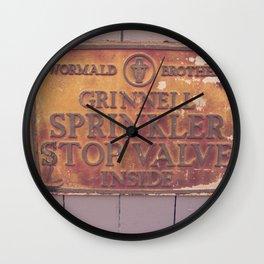 Sprinkler Stop Valve Sign Wall Clock