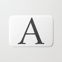 Letter A Initial Monogram Black and White Bath Mat