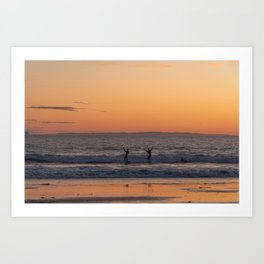 Happy Surfers at Sunset in Santa Barbara, California Art Print