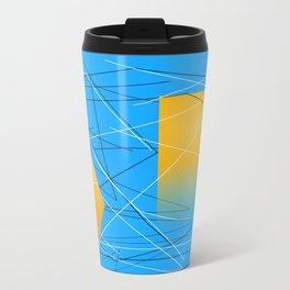 Blue Yellow Abstract Diamond Travel Mug