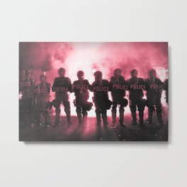 Riot Police Line - Red Cast Metal Print