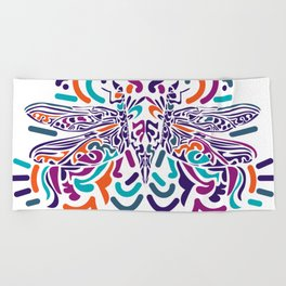 Colorful Fly Beach Towel