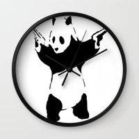 banksy Wall Clocks featuring Banksy Panda1 by vie3